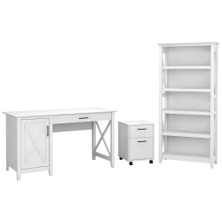 """Bush Furniture Key West 54""""W Computer Desk With 2-Drawer Mobile File Cabinet And 5-Shelf Bookcase, Pure White Oak, Standard Delivery"""