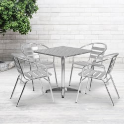"Flash Furniture Square Aluminum Indoor-Outdoor Table with 4 Slat-Back Chairs, 27-1/2""H x 27-1/2""W x 27-1/2""D, Aluminum"