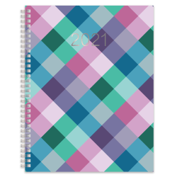 """Office Depot® Brand Weekly/Monthly Planner, 8-1/2"""" x 11"""", Buffalo Check, January To December 2021"""