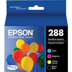 Epson DURABrite Ultra 288 Original Ink Cartridge - Pigment Black, Pigment Cyan, Pigment Magenta, Pigment Yellow - Inkjet - Standard Yield - 165 Pages Color, 175 Pages Black - 4 / Pack