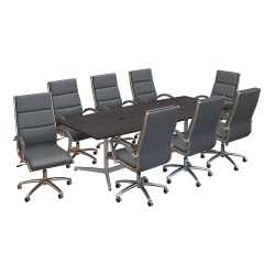 """Bush Business Furniture 96""""W x 42""""D Boat Shaped Conference Table with Metal Base and Set of 8 High Back Office Chairs, Storm Gray, Standard Delivery"""