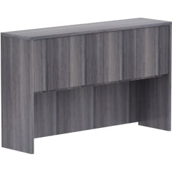 """Lorell Weathered Charcoal Laminate Desking - 60"""" x 15"""" x 36"""" - Drawer(s)4 Door(s) - Material: Polyvinyl Chloride (PVC) Edge - Finish: Weathered Charcoal Laminate"""