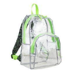 Eastsport Clear PVC Backpack, Black/Lime Geometric