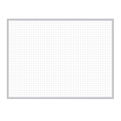 """Ghent 1"""" x 1"""" Grid Magnetic Dry-Erase Whiteboard, 48"""" x 72"""", Satin Silver Aluminum Frame"""