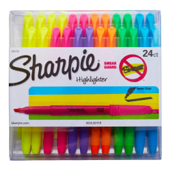 Sharpie® Accent Pocket Highlighters, Chisel Tip, Assorted Barrel Colors, Assorted Ink Colors, Pack Of 24 Highlighters