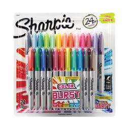 Sharpie® Color Burst Permanent Markers, Fine Point, Assorted Colors, Pack Of 24