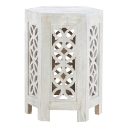 "Powell Devery Hexagon Side Table, 24""H x 18""W x 18""D, Distressed White"