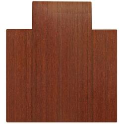 "Anji Mountain Bamboo Roll-Up Chair Mat, 44"" x 52"", 1/4""-Thick, 9 1/4"" Tongue, Dark Cherry"
