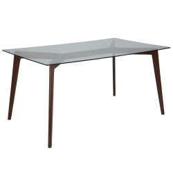 """Flash Furniture Solid Wood Table With Glass Top, 29-1/4""""H x 35-1/4""""W x 59""""D, Clear/Walnut"""