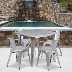 """Flash Furniture Commercial-Grade Square Metal Table Set With 4 Arm Chairs, 29-1/2""""H x 31-1/2""""W x 31-1/2""""D, Silver"""
