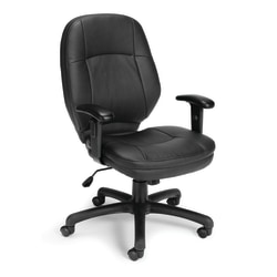 OFM Stimulus Mid-Back Chair With Arms, Black/Silver