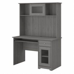 """Bush Furniture Cabot 48""""W Small Computer Desk With Hutch And Keyboard Tray, Modern Gray, Standard Delivery"""