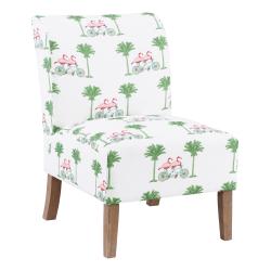 Linon Roxy Script Accent Chair, Gray Wash/Green/Pink/White
