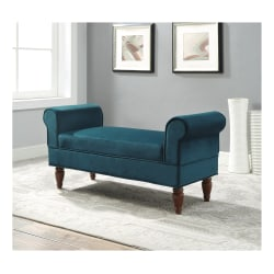 "Linon Austin Rolled Arm Bench, 23""H x 45-3/16""W x 17-1/2""D, Teal/Brown"