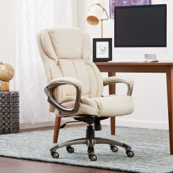 Serta® Works Bonded Leather High-Back Office Chair, American Beige/Silver