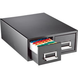 "Major Metalfab 16"" Card File Box, Double Drawer, 3"" x 5"", 58% Recycled, Black"