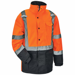Ergodyne GloWear 8384 Type R Class 3 Polyester Thermal Parka, Small, Orange