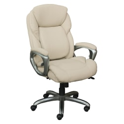 Serta® Works My Fit Bonded Leather High-Back Office Chair With Tailored Reach, Inspired Ivory/Silver
