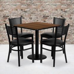 """Flash Furniture Square Table And 4 Grid-Back Chairs, 30"""" x 30"""", Walnut"""