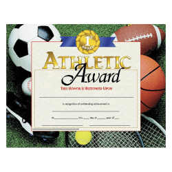 "Hayes Athletic Award Certificates, 8 1/2"" x 11"", Multicolor, 30 Certificates Per Pack, Bundle Of 6 Packs"