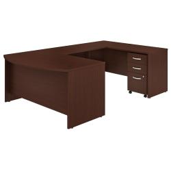 "Bush Business Furniture Studio C U-Shaped Desk With Mobile File Cabinet, 60""W x 36""D, Harvest Cherry, Premium Installation"