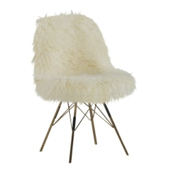Linon Home Décor Products Jen Faux Fur Home Office Chair, White/Gold