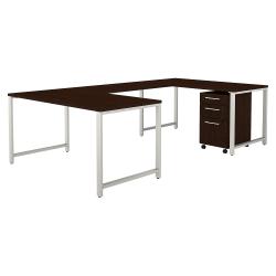 "Bush Business Furniture 400 Series 60""W U-Shaped Desk With 3-Drawer Mobile File Cabinet, Mocha Cherry, Premium Installation"