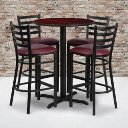 "Flash Furniture Round Table And 4 Ladder-Back Barstools, 42"" x 30"", Mahogany/Burgundy"