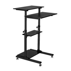 "Mount-It! MI-7940B Mobile Stand-Up Desk, 30-1/2""H x 37""W x 4-1/4""D, Black"