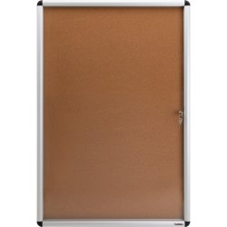 "Lorell® Enclosed Cork Bulletin Board, 36"" x 24"", Aluminum Frame With Silver Finish"