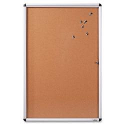 "Lorell® Enclosed Cork Bulletin Board, 36"" x 48"", Natural, Silver Aluminum Frame"
