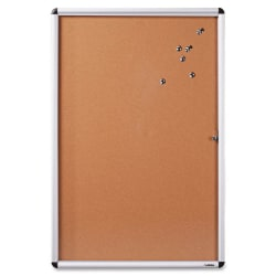 """Lorell® Enclosed Non-Magnetic Cork Bulletin Board, 36"""" x 48"""", Aluminum Frame With Silver Finish"""