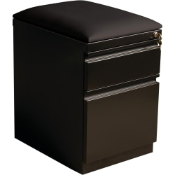 "Lorell® 19-7/8""D Vertical 2-Drawer Mobile Pedestal File Cabinet With Seat Cushion, Metal, Black"