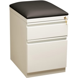 "Lorell® 19-7/8""D Vertical 2-Drawer Mobile Pedestal File Cabinet With Seat Cushion, Metal, White"