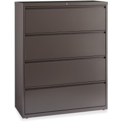"Lorell® Fortress 42""W Lateral 4-Drawer File Cabinet, Metal, Gray"