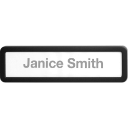 """Lorell Recycled Plastic Cubicle Nameplate - 1 Each - 0.9"""" Width x 2.7"""" Height - Plastic - Black"""