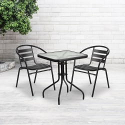 "Flash Furniture Square Glass/Metal Table With 2 Slat-Back Stacking Chairs, 28"" x 23-1/2"", Clear/Black"