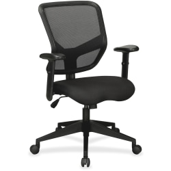 Lorell® Executive Mesh/Fabric Mid-Back Chair, Black