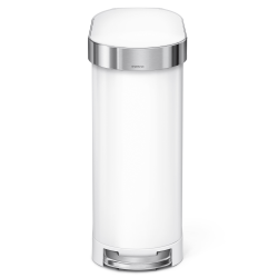 simplehuman Slim Stainless Steel Step Trash Can, With Liner Rim, 11.9 Gallons, White With Stainless Steel Rim