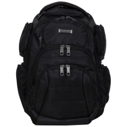 """Kenneth Cole Reaction Triple Compartment Business Backpack With 17"""" Laptop Pocket, Black"""