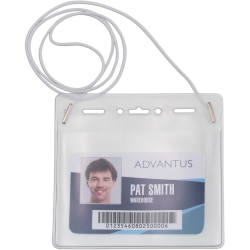 """Advantus Horizontal ID Card Holder with Neck Cord - Support 4"""" x 3"""" Media - Horizontal - Vinyl - 25 / Pack - White, Clear"""