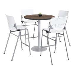 "KFI Studios KOOL Round Pedestal Table With 4 Stacking Chairs, 41""H x 36""D, Studio Teak/White"