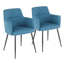 LumiSource Andrew Dining Chairs, Black/Teal, Set Of 2 Chairs