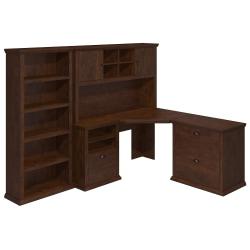 "Bush Furniture Yorktown 60""W Corner Desk With Hutch, Lateral File Cabinet And 5-Shelf Bookcase, Antique Cherry, Standard Delivery"