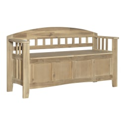 Linon Home Décor Products Cara Split-Seat Bench With Storage, Natural Washed