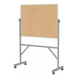 "Ghent Reversible Cork Bulletin Board, 78 1/4"" x 53 1/4"" x 20"", Silver Aluminum Frame"