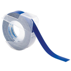 "DYMO® 5201-06 Embossed Vinyl Labeling Tape, 0.38"" x 9.8', Glossy Blue"