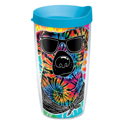 Tervis Project Paws Tumbler With Lid, Tie Dye Dog With Sunglasses, 16 Oz, Clear/Turquoise