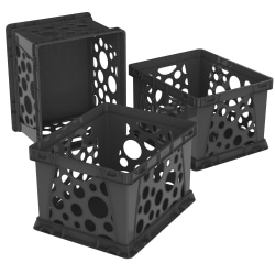 """Storex Standard File Crates, 17-1/4"""" x 14-1/4"""" x 11-1/4"""", Letter/Legal, Black, Pack Of 3 Crates"""