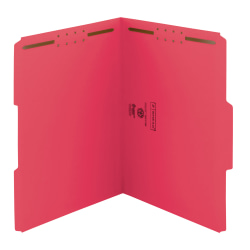 Smead® Color Reinforced Tab Fastener Folders, Letter Size, 1/3 Cut, Red, Pack Of 50